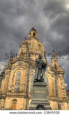 "Dresden ""Church of Our Lady"" and statue of Martin Luther"