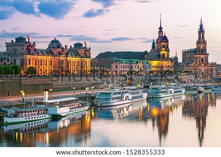 Photo of  Dresden city skyline at Elbe River and Augustus Bridge at sunset, Dresden, Saxony, Germany