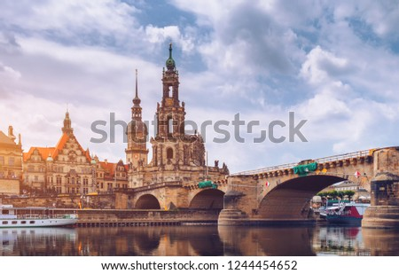 Photo of  Dresden city skyline panorama at Elbe River and Augustus Bridge, Dresden, Saxony, Germany