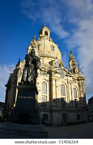 Dresden Frauenkirche (Church of Our Lady) and Martin Luther monument, Germany