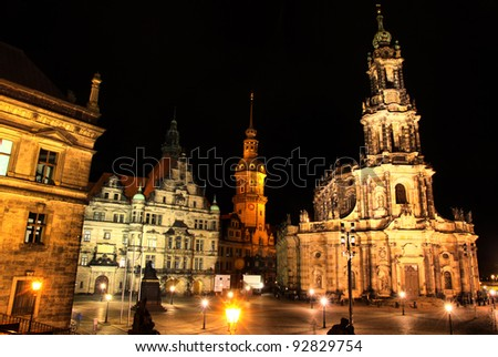 Dresden, Germany at night. View to Schlossplatz and St. Trinitatis Cathedral