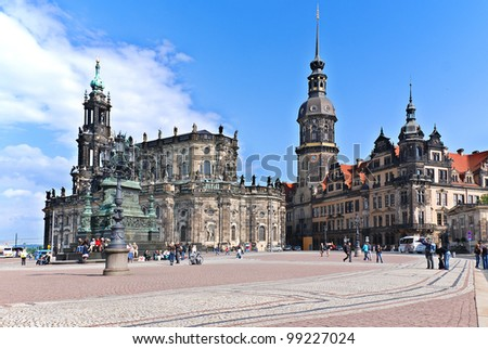 DRESDEN GERMANY-MAY 25: The Hofkirche stands as one of Dresden's foremost landmarks on May 25, 2010 in Dresden.The church was destroyed in the firebombing of Dresden during World War II. - stock photo