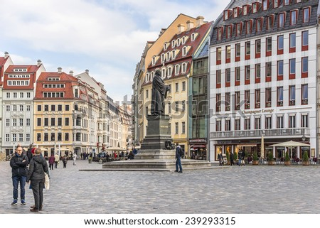 DRESDEN, GERMANY - NOVEMBER 10, 2014: People walk on Neumarkt Square. Neumarkt square is a central and culturally significant section of the Dresden inner city.