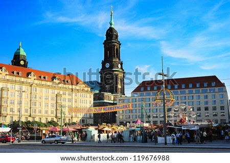 DRESDEN, GERMANY - SEPTEMBER 16: People on a street market on September 16, 2012 in Dresden, Germany. Dresden with population 523, 058 - one of Germany's 16 political centers and the capital of Saxony - stock photo