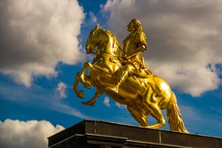 Dresden, Germany: The Golden Rider - Goldener Reiter. It is a gilded equestrian statue of Augustus the Strong from 1743, one of Dresden's best known landmarks.