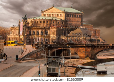 Dresden Opera House under dramatic sky