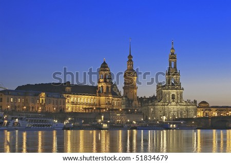 Dresden the Hofkirche and Elbe river panorama