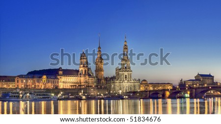 Dresden the Hofkirche with Elbe Panorama
