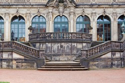 Dresden Zwinger palace stairs and facade, Germany