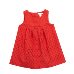 Dress for baby girl on a white background/ Summer wardrobe / Children's clothes/ Flat lay/ Top view