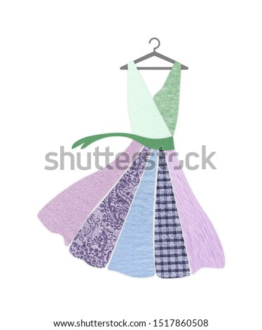 Dress on hanger made with recycled fabric textures. Sustainable fashion and ethical shopping conscious consumerism concept