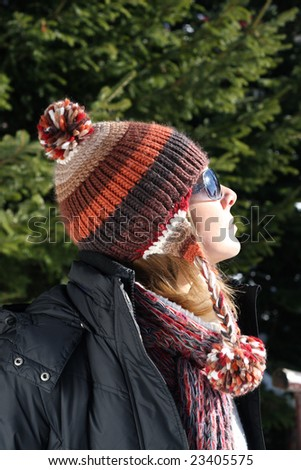 Dressed girl for winter outdoors #23405575