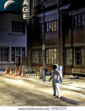 Dressed in complete spacesuit and helmet. Astronaut stands along at night on an abandon earth city street. Crescent moon above. Old buildings grunge distressed trash on street.
