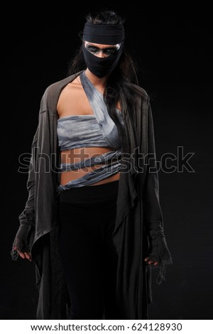 dressed women with different designs as warrior women.  #624128930