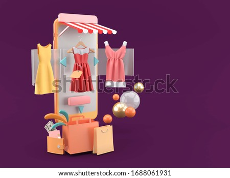 Dresses on online stores and shopping bags on a purple background.-3d rendering.