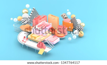 Dresses, wristwatches, glasses, handbags, high heels and sneakers surrounded by shopping bags and colorful balls on a blue background.-3d rendering.
