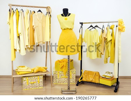 Dressing closet with yellow clothes arranged on hangers and an outfit on a mannequin. Wardrobe full of all shades of yellow clothes, shoes and accessories.