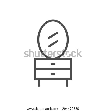 Dressing table line icon isolated on white