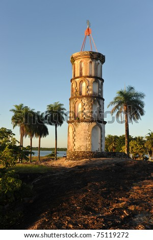 Dreyfus's tower in Kourou, French Guiana. The Dreyfus Tower was used to communicate with the Devil islands (penal colony) via Morse code.