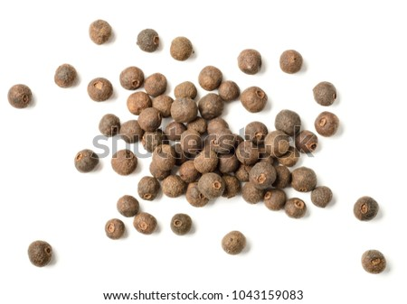 dried allspice isolated on white background, top view
