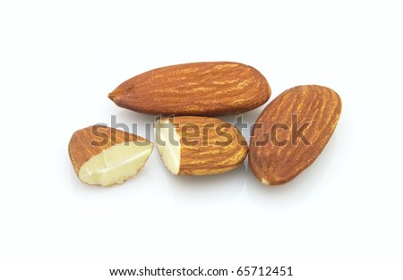 Dried almonds kernel on a white background