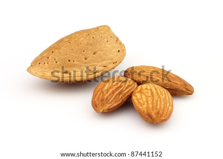 Dried almonds with kernel in closeup