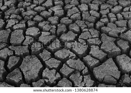 Dried and Cracked ground,Cracked surface,Dry soil in arid areas #1380628874