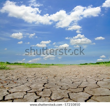 Dried and cracked soil in blue sky