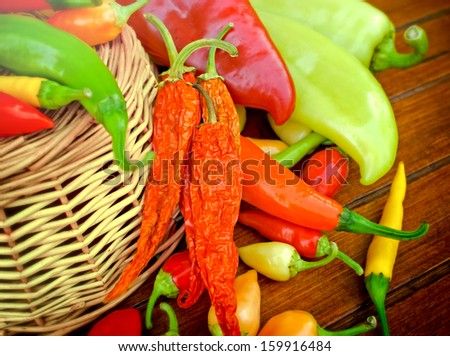 Dried and fresh peppers (multicolored peppers - colorful peppers)