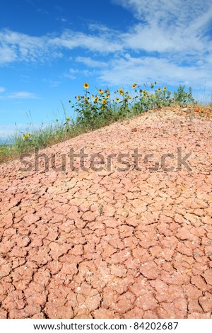 Dried and parched ground of Badlands National Park in South Dakota