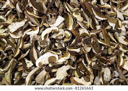 Dried and sliced edible mushroms at market