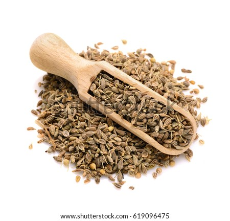 dried anise seed in a scoop for spices close up isolated on a white background