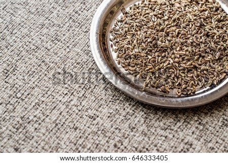 Dried Anise Seed or Aniseed on silver plate. (anason) Stok fotoğraf ©