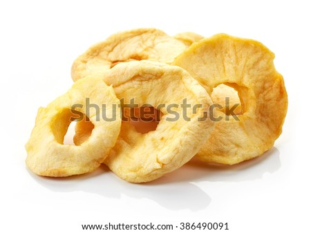 dried apple rings isolated on white background
