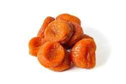 Dried apricots isolated on a white background. Front views, close-up.