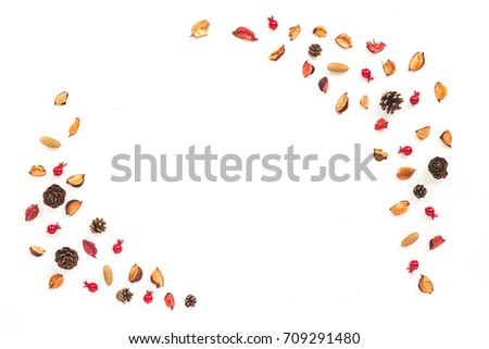 Dried autumn flowers on white background. Autumn frame. Flat lay, top view, copy space #709291480