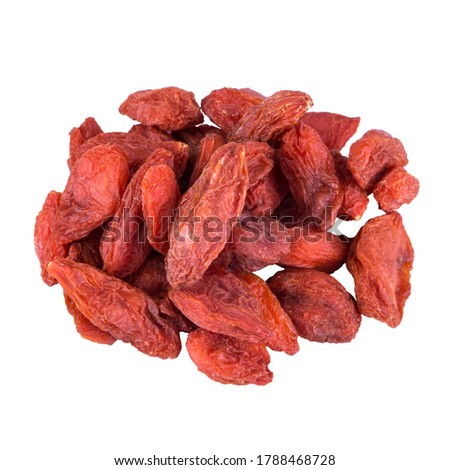 dried barberry berries, folded in a heap and isolated on a white background, macro photo with the texture of berries Stock photo ©