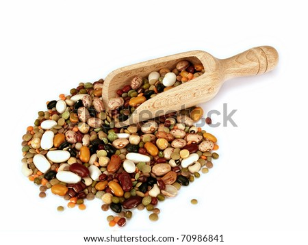 Dried beans and lentils with wooden scoop