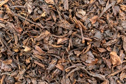 Dried black tea leaves background. Aromatic drink ingredient close-up, top view. Fermented dry plants are rich in flavor and aroma and contain antioxidants.