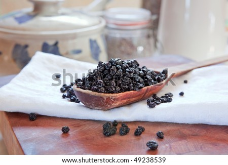 Dried blueberries on rustic wooden spoon.