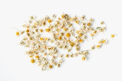 dried chamomile flowers on white background, dried chamomile