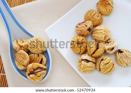 Dried chestnuts used as food ingredients in Chinese desserts and cuisine. For food and beverage, and nutritional concepts.