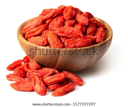 dried Chinese wolfberries in the wooden bowl, isolated on white background Stock photo ©