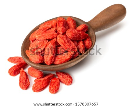 dried Chinese wolfberries in the wooden spoon, isolated on white background Stock photo ©