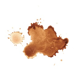 Dried coffee stain isolated over the white surface