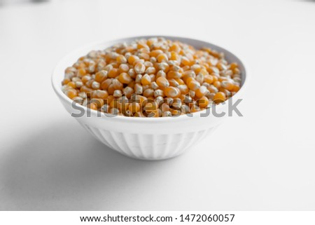 Dried corn beans, corn seeds on isolated white backround.