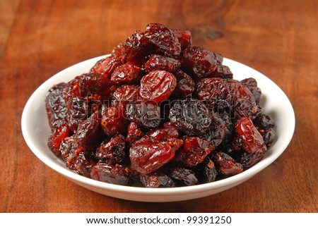 Dried Cranberries on the table