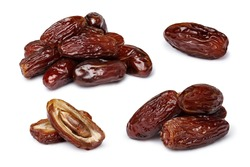 Dried dates (fruits of date palm Phoenix dactylifera).  Clipping paths for both objects and shadows. Infinite depth of field, retouched. Set, bundle,collection