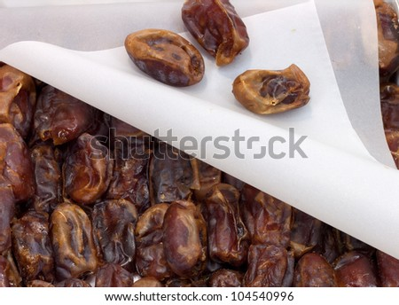 dried dates in the box as the background