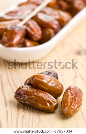 dried dates on kitchen table